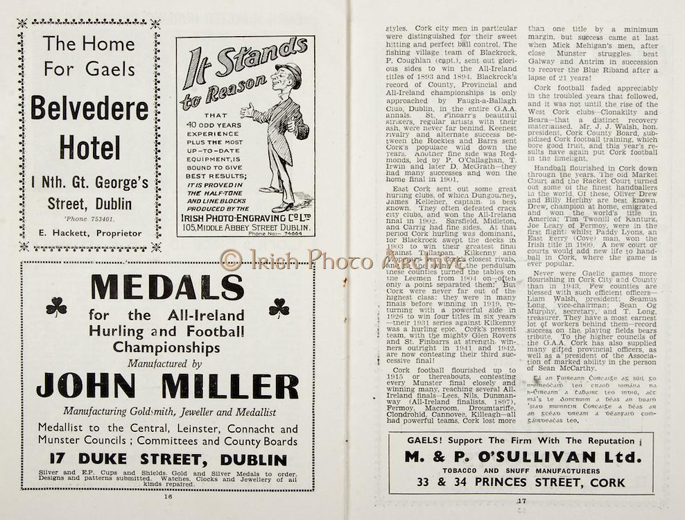 All Ireland Senior Hurling Championship Final, .Brochures,.05.09.1943, 09.05.1943, 5th September 1943, .Antrim 0-4, Cork 5-16,.Minor Dublin v Kilkenny, .Senior Antrim v Cork, .Croke Park, ..Advertisements, Belvedere Hotel, Irish Photo-Engraving Co LTD, John Miller Manufacturing Goldsmith Jeweller and Medallist, M & P O'Sullivan Ltd Tobacco and Snuff Manufacturers,