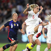 England defender Steph Houghton (5) runs with the ball during the first match of the 2020 She Believes Cup soccer tournament at Exploria Stadium on 5 March 2020 in Orlando, Florida USA.