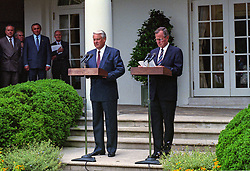 United States President George H.W. Bush, right, and President Boris Yeltsin of the Russian Federation, left, announce an arms control agreement that will eliminate all of Russia's most powerful SS-18 multiple warhead missiles, in the Rose Garden of the White House in Washington, D.C. on June 16, 1992. After making their statements the presidents took questions from the media. Photo by Ron Sachs / CNP /ABACAPRESS.COM