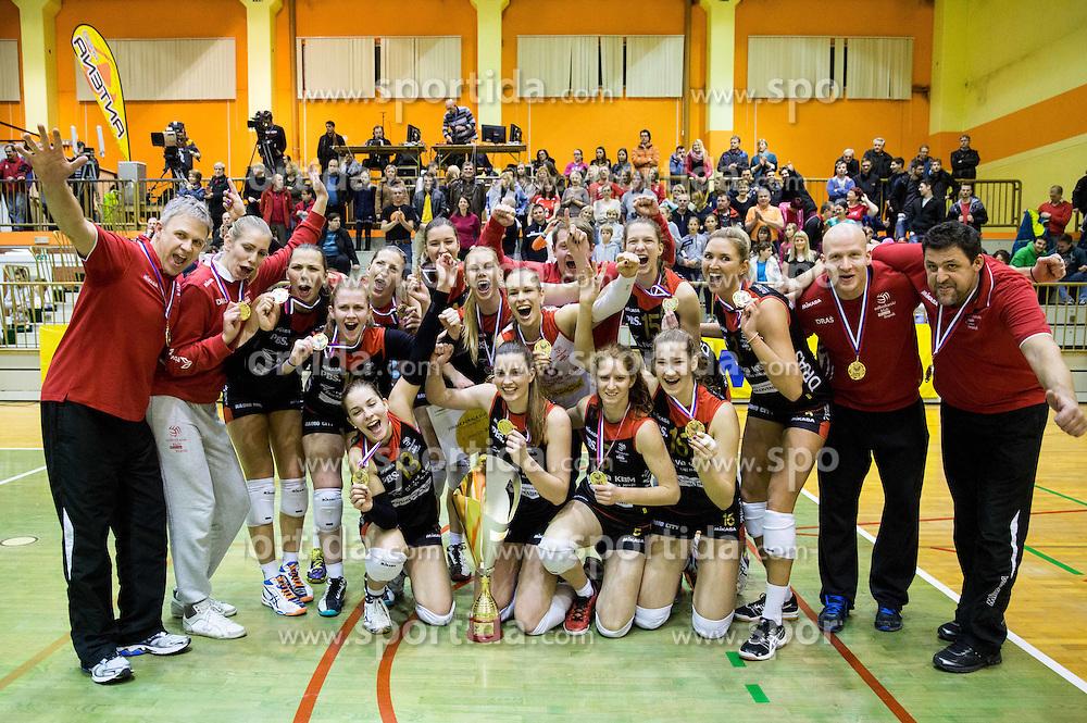 Players of Nova KBM Branik celebrate with a trophy after winning the volleyball match between Nova KBM Branik Maribor and OK Luka Koper in Final of Women Slovenian Cup 2014/15, on January 18, 2015 in Sempeter v Savinjski dolini, Slovenia. Photo by Vid Ponikvar / Sportida