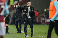 Pep Guardiola, the Manchester City manager shouting instructions from the touchline. Premier league match, West Ham Utd v Manchester city at the London Stadium, Queen Elizabeth Olympic Park in London on Wednesday 1st February 2017.<br /> pic by John Patrick Fletcher, Andrew Orchard sports photography.