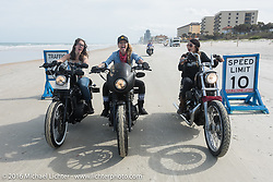 The Iron Lillies Daneille Basualdo, Leticia Cline and Kissa Von Addams riding on Daytona Beach during Daytona Bike Week 75th Anniversary event. FL, USA. Thursday March 3, 2016.  Photography ©2016 Michael Lichter.