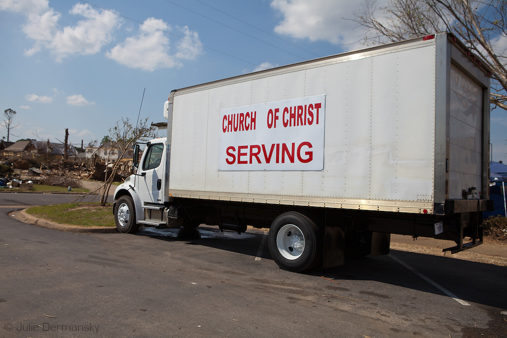 Church group offering disaster aid after tornados ripped through Tuscaloosa. Tuscaloosa was hit by F-4 and  possibly an F-5 tornados that were part of a storm  of an estimated 300 that struck Alabama and the neighboring states on April 27th , 2011.