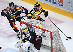 02.02.2016, Albert Schultz Eishalle, Wien, AUT, EBEL, UPC Vienna Capitals vs Dornbirner Eishockey Club, Platzierungsrunde, im Bild Kevin Macierzynski (Dornbirner EC), David Madlener (Dornbirner EC) und Rafael Rotter (UPC Vienna Capitals) // during the Erste Bank Icehockey League placement round match between UPC Vienna Capitals and Dornbirner Eishockey Club at the Albert Schultz Ice Arena, Vienna, Austria on 2016/02/02. EXPA Pictures © 2016, PhotoCredit: EXPA/ Thomas Haumer