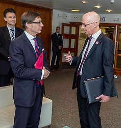 Pictured: <br />Deputy First Minister John Swinney and German Ambassador Peter Wittig were in Edinburgh today to open the Scottish Council for Development and Industry annual forum. <br /><br />Ger Harley | EEm 26 April 2019