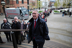 © Licensed to London News Pictures . 06/05/2015 . Leeds , UK . HILLARY BENN by the queue outside Leeds City Museum for a Labour Party Rally address by Ed Miliband , on the eve of polls opening for the 2015 British general election . Photo credit : Joel Goodman/LNP