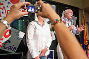 Aug. 23, PHOENIX, AZ: US Sen. JOHN McCAIN speaks at an election rally in his campaign offices in Phoenix, AZ, Monday. US Sen. John McCain held the final of his primary election campaign at his campaign offices in Phoenix Monday. McCain, Arizona's senior Republican US Senator, is facing former Congressman JD Hayworth in the primary, Tuesday, Aug. 24. McCain has outspent Hayworth by a considerable margin and is expected to win.   Photo by Jack Kurtz