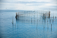 A traditional fishing weir off the coast of Grand Manan Island, New Brunswick, Canada