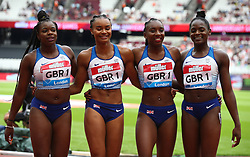 July 22, 2018 - London, United Kingdom - L-R Asha Philip, Imani-Lara Lansiquot. Bianca Williams and Daryll Neita of Great Britain and Northern Ireland Team (Winners) after the 4 x 100m Relay Women.during the Muller Anniversary Games IAAF Diamond League Day Two at The London Stadium on July 22, 2018 in London, England. (Credit Image: © Action Foto Sport/NurPhoto via ZUMA Press)