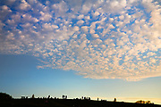 Silhuette of the many weekend visitors walking on Parliament Hill at sunset, 7th June 2016, Parliament Hill, Hampstead Heath, London.