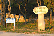Stone sign post and indication to the wine shop at Chateau Saint Cosme, Gigondas, Vaucluse, Rhone, Provence, France