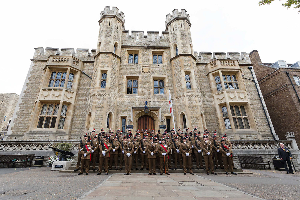 Fusiliers pose for a group photograph outside the Royal Regiment of Fusiliers Regimental Headquarters in the Tower of London in London, England on September 05, 2018.
