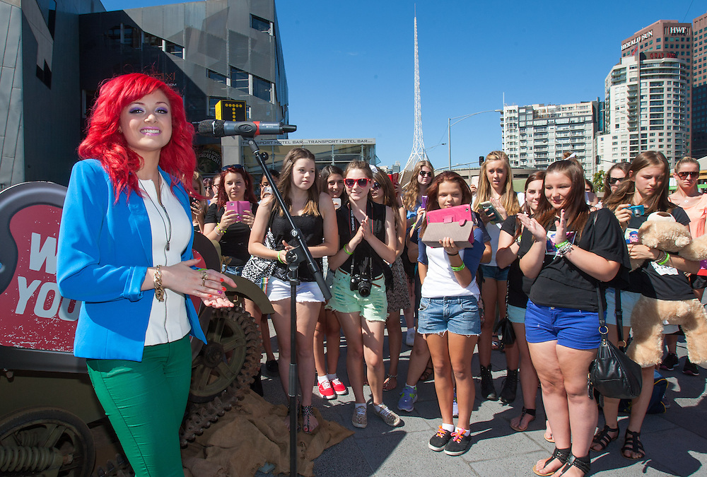 """Three young stars show their support for the Fifth Army & HeadSpace at an event at Federation Square. The three rode in an army style tank and signed up young followers to support the Fifth Army. .Singer song writer Sarah De Bono (with Red Hair).James Mason (in black shirt) aka Chris Pappas from TV show Neighbours.Trent """"Maxi"""" Maxwell (White T-Shirt) Lifeguard from TV show Bondi Rescue.Photo By Craig Sillitoe This photograph can be used for non commercial uses with attribution. Credit: Craig Sillitoe Photography / http://www.csillitoe.com<br /> <br /> It is protected under the Creative Commons Attribution-NonCommercial-ShareAlike 4.0 International License. To view a copy of this license, visit http://creativecommons.org/licenses/by-nc-sa/4.0/. ."""