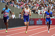 Martin Rooney (GBR) in the 400m men with Rabah Yousif (GBR) and Tony McQuay (USA) during the Muller Anniversary Games at the London Stadium, London, England on 9 July 2017. Photo by Jon Bromley.