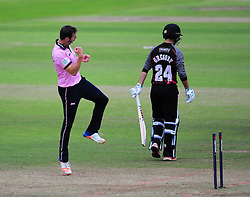 Toby Roland-Jones celebrates the wicket of Lewis Gregory.  - Mandatory by-line: Alex Davidson/JMP - 15/07/2016 - CRICKET - Cooper Associates County Ground - Taunton, United Kingdom - Somerset v Middlesex - NatWest T20 Blast
