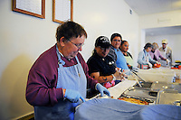 Sister Barbara Muck, a long-serving advocate for the needy, behind the lunch line at the First United Methodist Church in Salinas, California. Volunteers from the community drive a program that provides meals, counseling resources and occasional shelter to people in need.