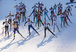 Start  during Women 12.5 km Mass Start at day 4 of IBU Biathlon World Cup 2015/16 Pokljuka, on December 20, 2015 in Rudno polje, Pokljuka, Slovenia. Photo by Vid Ponikvar / Sportida