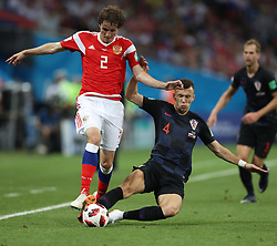 SOCHI, July 7, 2018  Mario Fernandes (L front) of Russia vies with Ivan Perisic (R front) of Croatia during the 2018 FIFA World Cup quarter-final match between Russia and Croatia in Sochi, Russia, July 7, 2018. (Credit Image: © Xu Zijian/Xinhua via ZUMA Wire)
