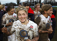 29 Feb 2010 Esher, Surrey: England players celebrate after the Women's Six Nations game between England and Ireland at Esher Rugby Club (photo by Andrew Tobin/SLIK images)