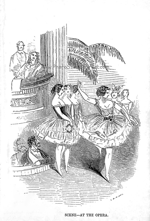 Scene at the Opera The man of pleasure's illustrated pocket-book for 1850 : displaying at one glance the varied attractions of this great metropolis ; with correct details of the saloons, club & night houses, ball, concert & billiard rooms, casinos, comical clubs, theatres, introducing houses; in fact, all pleasures that possess 'a local habitation and a name' are fully and accurately described, rendering it a Complete and gentlemanly night guide ; it also contains the annual routine of sporting information derived from authentic sources, combining the appurtenances of a General pocket-book and almanac. ; enclosed in a secret pocket are cards of address of a select few attractive lasses of this our 'little village,' with some 'shields' for cyprian war ; enriched with forty esplendid engravings