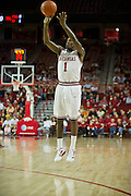 Nov 16, 2011; Fayetteville, AR, USA;  Arkansas Razorbacks guard Mardracus Wade (1) takes a shot during a game against the Oakland Grizzlies at Bud Walton Arena. Arkansas defeated Oakland 91-68. Mandatory Credit: Beth Hall-US PRESSWIRE