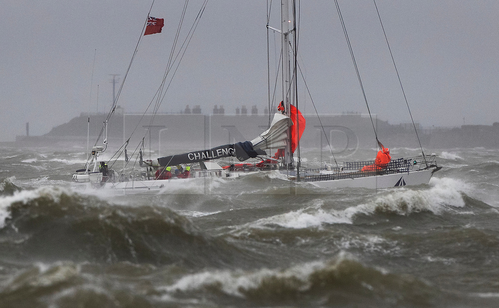 © Licensed to London News Pictures. 09/02/2020. Portsmouth, UK. The Tall Ships Challenger 4 sailing yacht fights the waves as she passes Southsea, Portsmouth as Storm Ciara batters the UK. Airlines have cancelled dozens of domestic and international flights as the storm brings strong winds and rain. Photo credit: Peter Macdiarmid/LNP