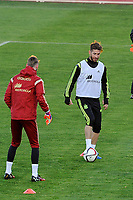 Spanish National Team's  training at Ciudad del Futbol stadium in Las Rozas, Madrid, Spain. In the Pic: De Gea and Sergio Ramos. March 25, 2015. (ALTERPHOTOS/Luis Fernandez)