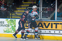 KELOWNA, CANADA - MARCH 25: Deven Sideroff #34 of the Kamloops Blazers back checks Devante Stephens #21 of the Kelowna Rockets on March 25, 2017 at Prospera Place in Kelowna, British Columbia, Canada.  (Photo by Marissa Baecker/Shoot the Breeze)  *** Local Caption ***