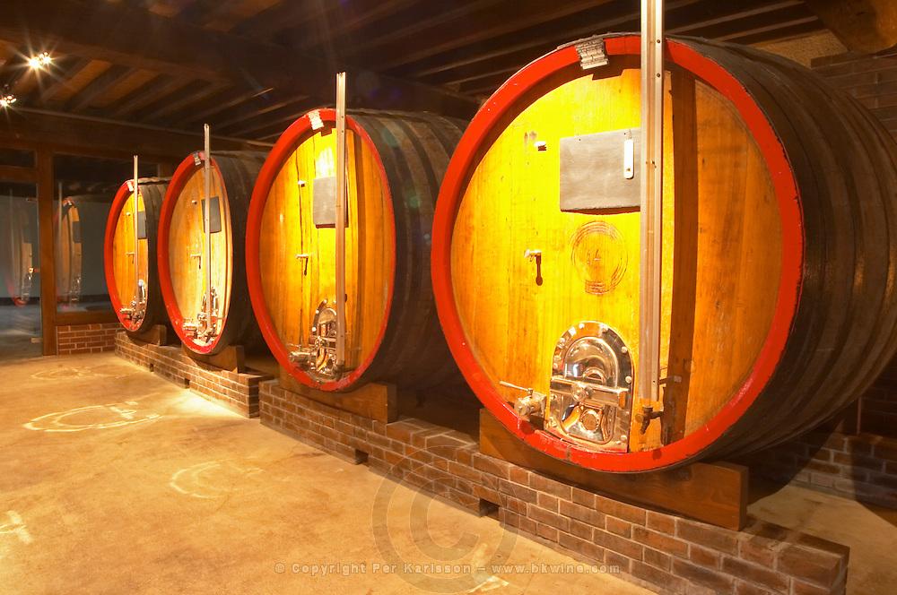 In the wine cellar: large oak storage casks, Champagne Jacquesson in Dizy, Vallee de la Marne, Champagne, Marne, Ardennes, France