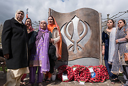 © Licensed to London News Pictures. 02/04/2019. Bristol, UK. The Bristol Sikh War Memorial and Remembrance Garden at the official opening in Bristol's Castle Park, to honour an estimated 83,000 Sikh soldiers who lost their lives in the First and Second World Wars, and more than 100,000 who were seriously wounded. The unveiling was performed by HRH The Duke of Kent, KG. The garden is close to the ruins of St Peter's Church and has been organised by the Bristol Sikh War Memorial Committee to be a peaceful way to remember the Sikh lives lost during the two conflicts. The idea was formed four years ago when Dilawer Singh Potiwal, the project leader of the committee, was attending a commemorative event with long-serving former Labour councillor Ron Stone, who died in 2015, and they had an idea that the Bristol Sikh community do something for their ancestors. All except the architects involved with the war memorial did so as volunteers. Photo credit: Simon Chapman/LNP