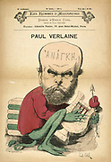 Paul Verlaine (1844-1896) French poet, as Decadence. Cartoon by Emile Cohl (1857-1938), 1880.