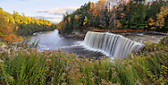 A panoramic view of the very picturesque Tahquamenon Falls and Tahquamenon River during Autumn, Upper Peninsula, Michigan, USA