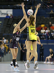 Manchester Thunder's Amy Carter (right) and  benecosMavericks Georgia Lees battle for the ball during the Vitality Netball Superleague Super Ten match held at Arena Birmingham.