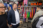 """Chinese artist Ai Weiwei and Anish Kapoor walk with a following entourage of supporters and media through central London - from the Royal Academy in Piccadilly to the former Olympic Park Stratford, eight-miles to show solidarity with refugees around the world. """"It is an act of solidarity and minimal action – we like that spirit,"""" said Kapoor. Ai, who has a show at the Royal Academy opening to the public on Saturday, said """"We are all refugees somehow, somewhere and at some moment."""""""