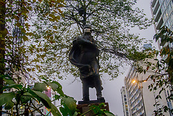 August 18, 2017 - SâO Paulo, São Paulo, Brazil - SAO PAULO, BRAZIL - AUGUST 18: Sculpture of Francisco de Miranda, in Praça do Ciclista, in the region of Avenida Paulista, in São Paulo (SP) dawned masquerade in protest against the PL (Law Bill) 300/2017, which extends to 20 years the term for the use of Renewable fuel in 100% of the capital's buses. According to a study made at Greenpeace's request, more than 3,000 deaths will be caused this year in the capital due to health problems aggravated by the emission of pollutants from the diesel bus fleet. For Pedro Telles, a climate change expert at Greenpeace, the use of renewable fuel ''would save one life a day by 2050, and more so in the long term' (Credit Image: © Cris Faga via ZUMA Wire)