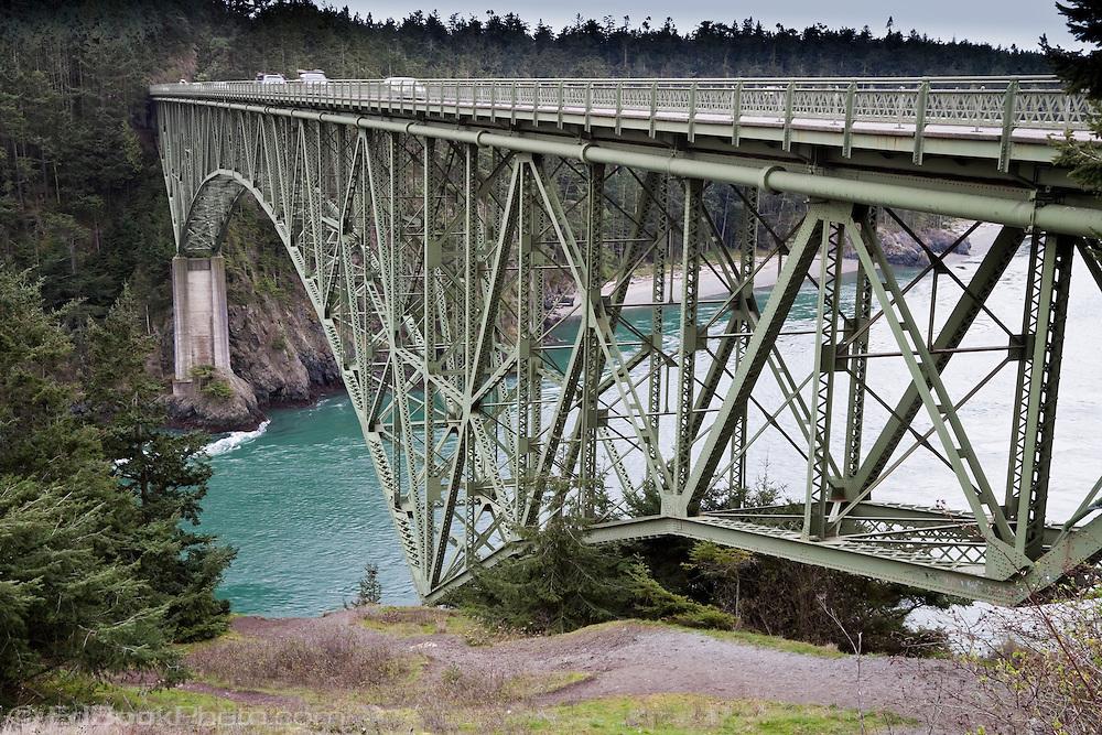 structure under the Deception Pass Bridge (WA SR20) from Canoe Island to Whidbey Island, Puget Sound, Washington, USA.