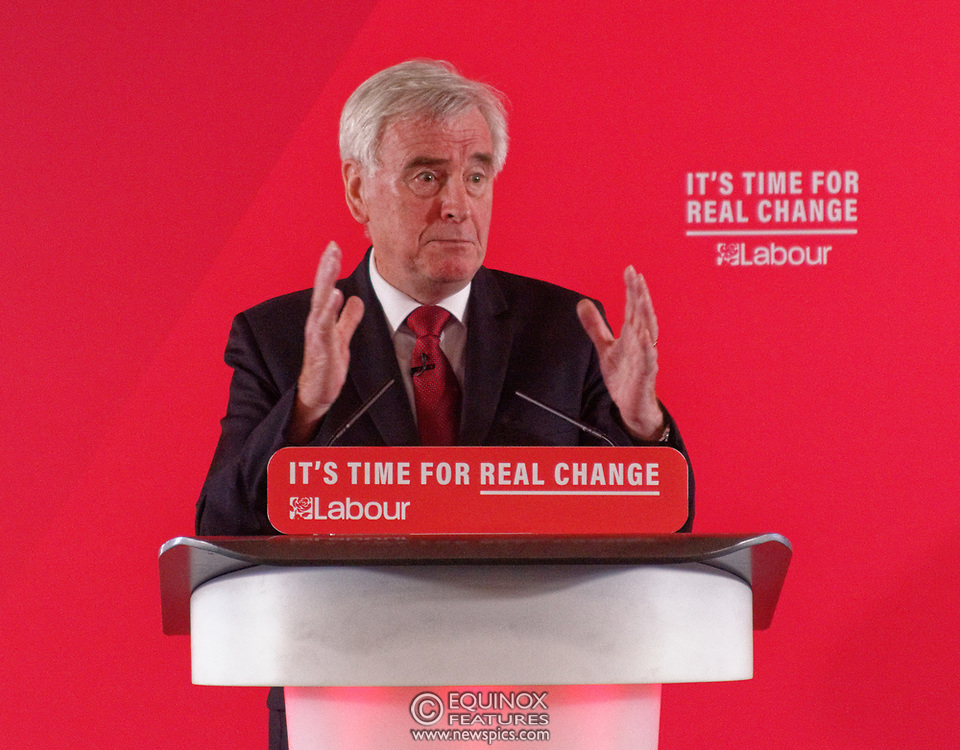 London, United Kingdom - 9 December 2019<br /> John McDonnell gives an economics speech in the run up to the general election 2019, on behalf of the Labour Party at Coin Street Community Builders, London, England, UK.<br /> (photo by: EQUINOXFEATURES.COM)<br /> Picture Data:<br /> Photographer: Equinox Features<br /> Copyright: ©2019 Equinox Licensing Ltd. +443700 780000<br /> Contact: Equinox Features<br /> Date Taken: 20191209<br /> Time Taken: 11382871<br /> www.newspics.com