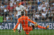 Harry Kane of Tottenham Hotspur has a close range shot saved by Burnley Goalkeeper Thomas Heaton. Premier league match, Tottenham Hotspur v Burnley at Wembley Stadium in London on Sunday 27th August 2017.<br /> pic by Steffan Bowen, Andrew Orchard sports photography.