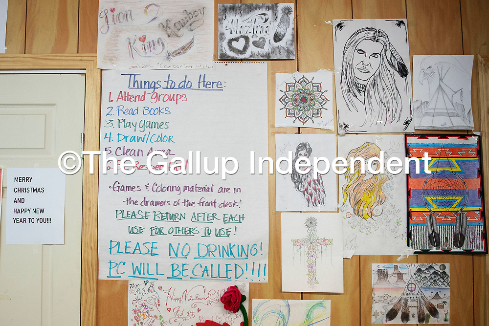 Artwork on the wall at the Hozho Center in Gallup Tuesday.