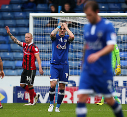 Lee Erwin of Oldham Athletic looks dejected after missing a chance - Mandatory by-line: Matt McNulty/JMP - 03/09/2016 - FOOTBALL - Sportsdirect.com Park - Oldham, England - Oldham Athletic v Shrewsbury Town - Sky Bet League One