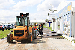 © Licensed to London News Pictures. 30/04/2012. BADMINTON, UNITED KINGDOM. Contractors and Tradestand holders prepare to leave after the announcement that The 2012 Mitsubishi Motors Badminton Horse Trials had been cancelled this morning due to poor ground conditions. The event, which was a key qualifier for the 2012 London Olympic Games, has been called off because of large areas of standing surface water and worries about the going of the Cross Country track. Photo credit: Mark Chappell/LNP