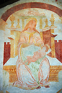 Religious murals of Madonna with Child attributed to Antonio Baschenis (C. 1474 -1493) on the exterior of the Gothic Church of San Antonio Abate,  Pelugo, Province of Trento, Italy .<br /> <br /> Visit our ITALY PHOTO COLLECTION for more   photos of Italy to download or buy as prints https://funkystock.photoshelter.com/gallery-collection/2b-Pictures-Images-of-Italy-Photos-of-Italian-Historic-Landmark-Sites/C0000qxA2zGFjd_k<br /> If you prefer to buy from our ALAMY PHOTO LIBRARY  Collection visit : https://www.alamy.com/portfolio/paul-williams-funkystock/san-antonio-abate-pelugo.html