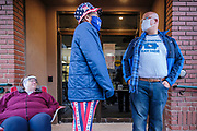 05 OCTOBER 2020 - DES MOINES, IOWA: at the Polk County Auditor's Office in downtown Des Moines. More than 100 people were lined up to vote when the office opened at 8:00AM Monday. Iowa's early voting period for the November 3 general election started Monday October 5. County auditors across Iowa also started mailing out absentee ballots on Monday.      PHOTO BY JACK KURTZ