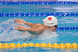 BUDAPEST, Oct. 5, 2018  Zhang Yufei of China competes in the Women's 200m Butterfly final of the FINA Short Course Swimming World Cup in Budapest, Hungary on Oct. 4, 2018. Zhang Yufei took the second place with 2 minutes and 3.29 seconds. (Credit Image: © Attila Volgyi/Xinhua via ZUMA Wire)