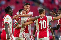 Edson Alvarez of Ajax, Lisandro Martinez of Ajax scores 3-0 during eredivisie round 02 between Ajax and RKC at Johan Cruyff Arena on September 20, 2020 in Amsterdam, Netherlands