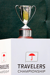 June 24, 2018 - Cromwell, CT, U.S. - CROMWELL, CT - JUNE 24: The winner's trophy on the first tee during the Final Round of the Travelers Championship on June 24, 2018 at TPC River Highlands in Cromwell, Connecticut. (Photo by Fred Kfoury III/Icon Sportswire) (Credit Image: © Fred Kfoury Iii/Icon SMI via ZUMA Press)