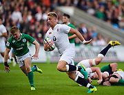 England fly-half Harry Mallinder makes a break to score under the posts during the World Rugby U20 Championship Final   match England U20 -V- Ireland U20 at The AJ Bell Stadium, Salford, Greater Manchester, England onSaturday, June 25, 2016. (Steve Flynn/Image of Sport)
