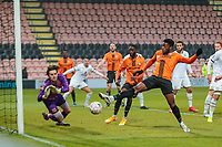 Football - 2020 / 2021 Emirates FA Cup - Round 2 - Barnet vs Milton Keynes Dons - The Hive<br /> <br /> JJ Hooper (Barnet FC) forces a fine save from Lee Nicholls (MK Dons) <br /> <br /> COLORSPORT/DANIEL BEARHAM