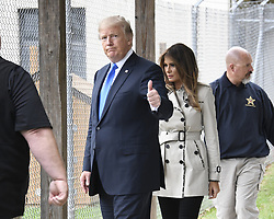 October 13, 2017 - Beltsville, Maryland, U.S. - President Donald J. Trump gives thumbs up as he and first lady Melania Trump tour the US Secret Service James J. Rowley Training Center on Friday. (Credit Image: © Ron Sachs/CNP via ZUMA Wire)