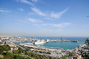 View over the Port of Barcelona from the Castell de Montjuic, Barcelona, Catalunya, Spain